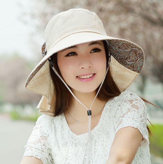 Sunbonnet вс шляпа шляпа солнца женщин летом большой краев анти-уф складной