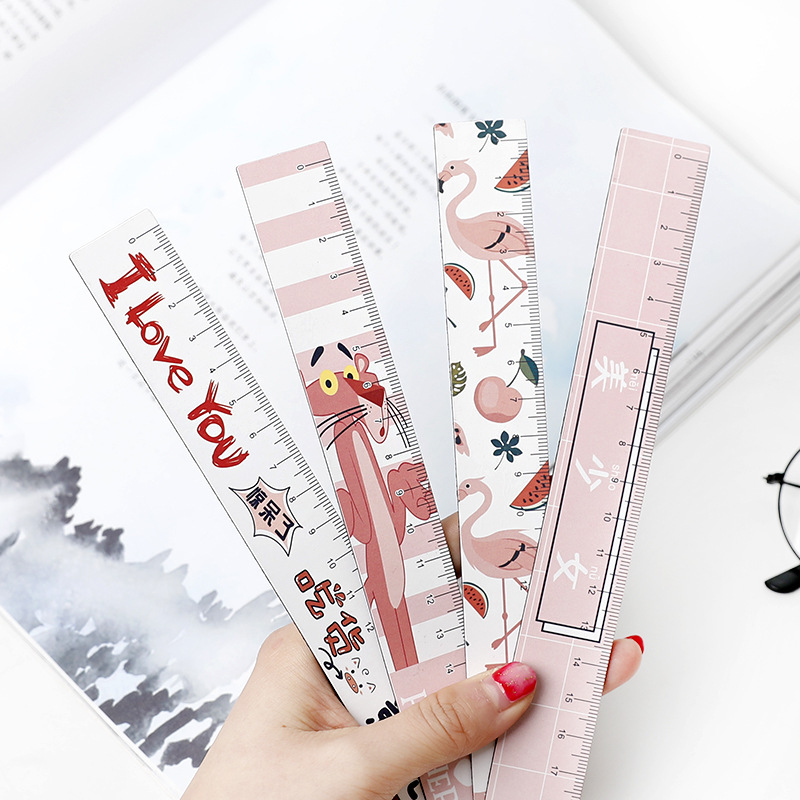 1pc Cartoon Animal Pink Panther Flamingo Sakura 18cm Straight Ruler Lovely Magnetic Bookmark Ruler Painting Learning Stationery