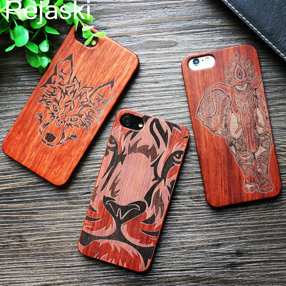 26 Style Wolf Totem Elephant Ganesha Carving Retro Bamboo Wood Phone Case Cover For Iphone 6 6S 8 Plus 7 7Plus X Tiger Skull
