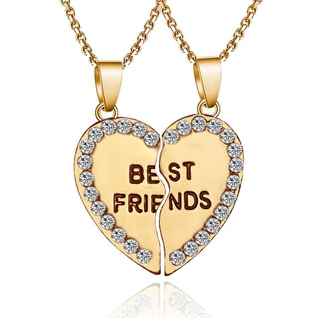 ebf3659b97ca 2 Piezas de Corazón Carta Mejores Amigos Par Collar Colgante Zirconia Collar  De BFF Amistad Joyería