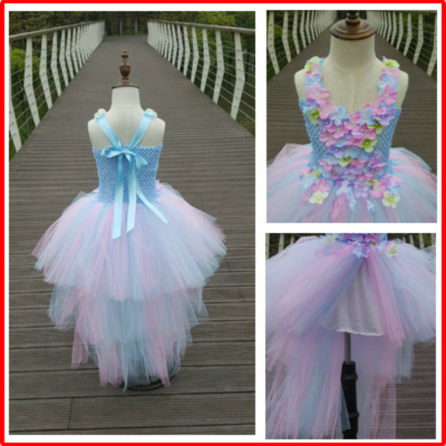 Baby pink and blue flower girl dress with train tulle baby flower baby pink and blue flower girl dress with train tulle baby flower girl wedding dress fluffy mightylinksfo