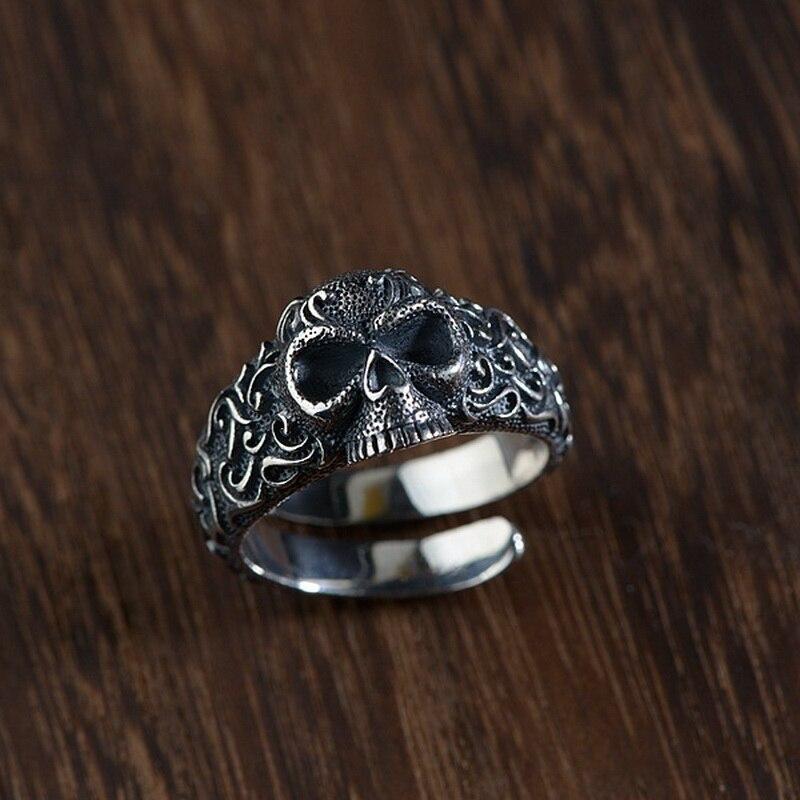 Anneau réglable d'ouverture de crâne en argent Sterling S925 pour femmes hommes Vintage couleur argent anneau de doigt de crâne bijoux Punk J275