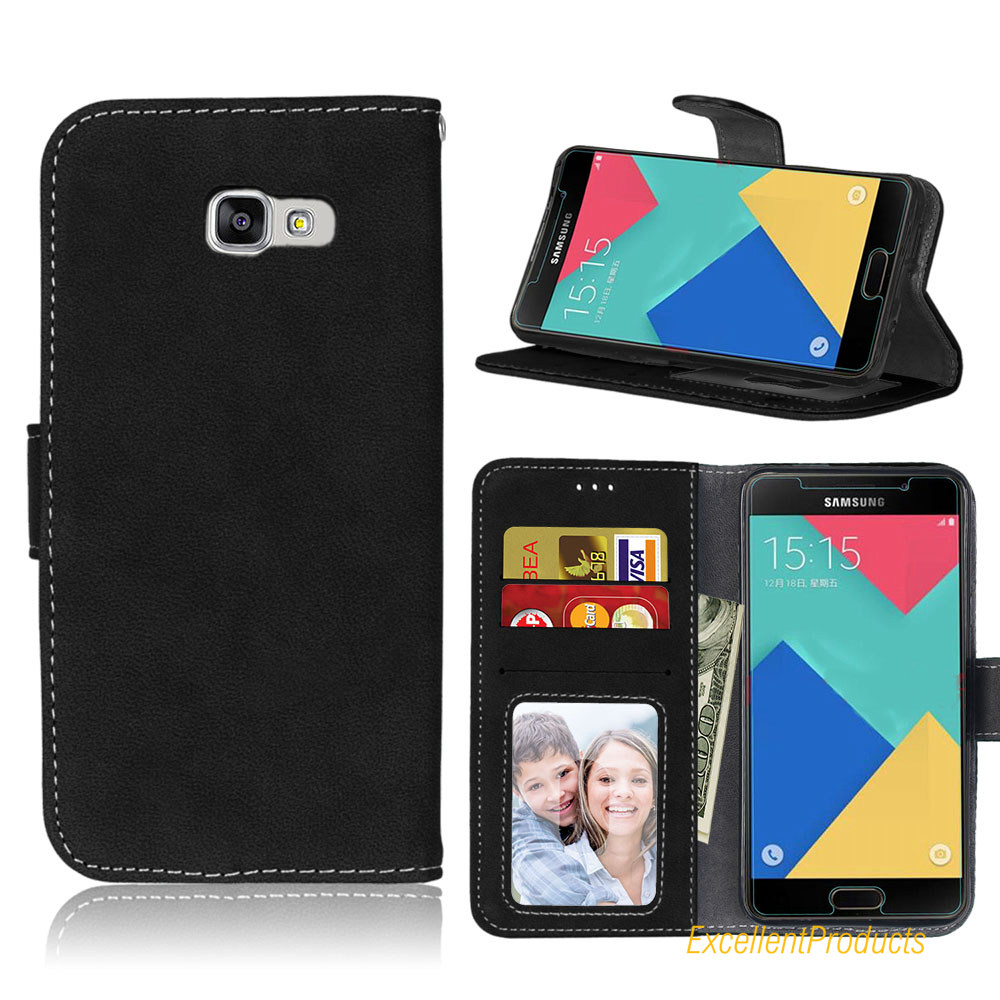 For Samsung A510 A5 2016 Mobile Case Card Scrub PU Ultra thin Retro Wallet Holster for Samsung A510 A5 2016 phone Cover Case