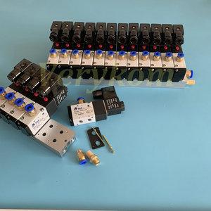 Image 2 - متعددة 2 ~ 20 صف 3V210 08 الكهرومغناطيسية كتلة صمام الملف اللولبي مع الخمار المناسب قاعدة متعددة تيار مستمر 12 فولت 24 فولت التيار المتناوب 110 فولت 220 فولت 3 ميناء