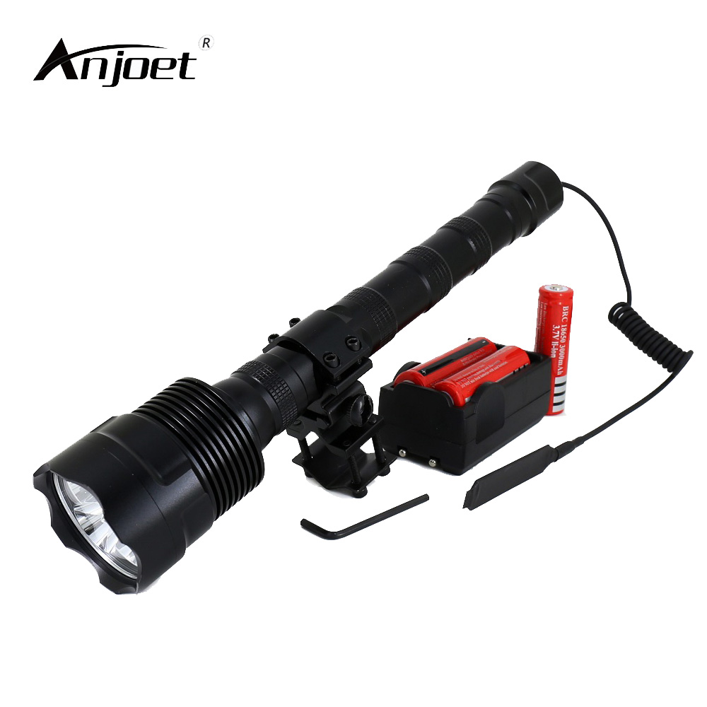 ANJOET LED Tactical Flashlight 18650 hunting Lantern 6000Lm XML 3xT6 light 5Mode Torch+Battery+Charger+Remote Switch+Gun Mount anjoet led hunting flashlight 6000 lumens 3 x xml t6 5mode 3t6 torch light suit gun mount remote pressure switch charger