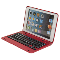 For Apple Pad Mini 1 2 3 Foldable Rechargeable Bluetooth Keyboard Case Cover Red