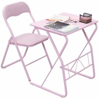 Goplus Kids Folding Table Chair Set Modern Pink Wood Study Writing Desk Portable Student Children Home