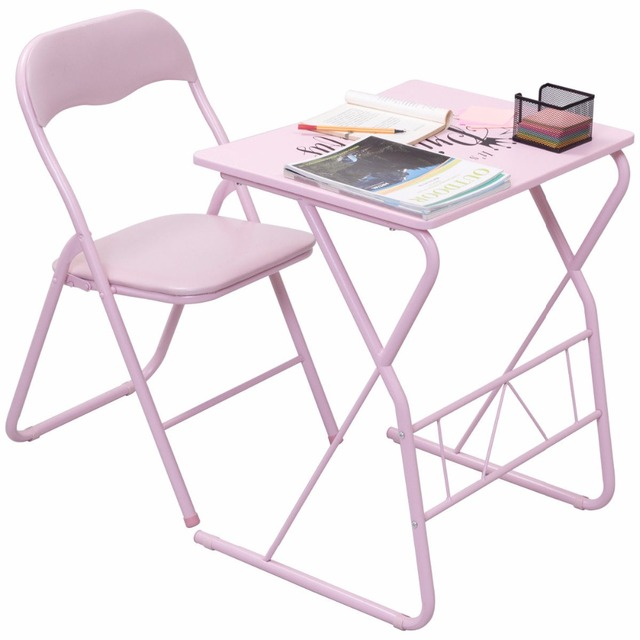 Goplus Kids Folding Table Chair Set Modern Pink Wood Study Writing Desk Portable Student Children Home  sc 1 st  AliExpress.com & Goplus Kids Folding Table Chair Set Modern Pink Wood Study Writing ...