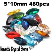 480 unids/lote 5 * 10 mm Marquise Crystal Fancy Stone cristal Navette granos del Rhinestone para prendas decoración
