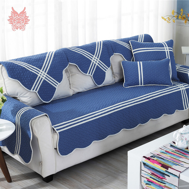 Korean Style Blue White Geometric Quilted Sofa Cover Slipcovers