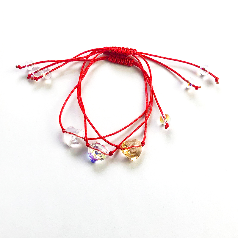 Bulage Heart Bead Bracelet Crystals From austria Lucky Red String Braiding Chain Couple Bracelets For Women Kids Wish Jewelry