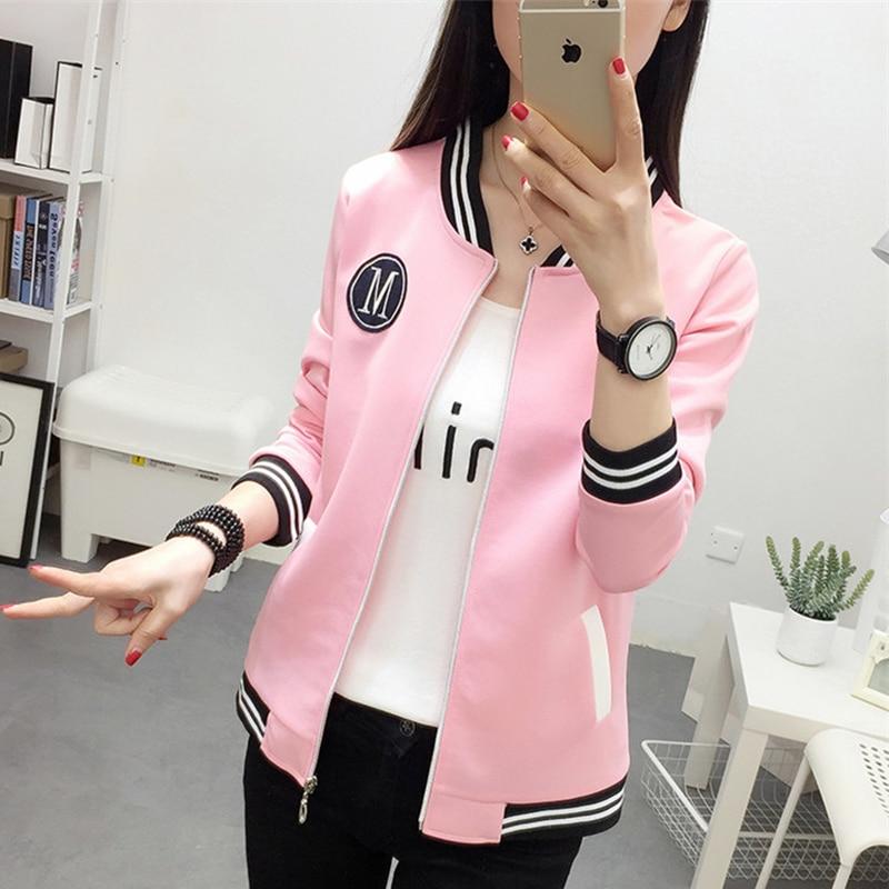 Fashion Women Zipper Long Sleeve Jacket Coat Outwear Stylish Casual Tops baseball uniform female Autumn pink cropped jacket