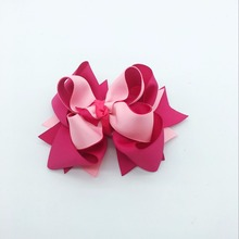 цена на 2 PCS 5 Inches Girls Solid Hair Bows Hair Clips Ribbon Bows Hairpins Multicolor Children Headwear Fastion Hair Accessories