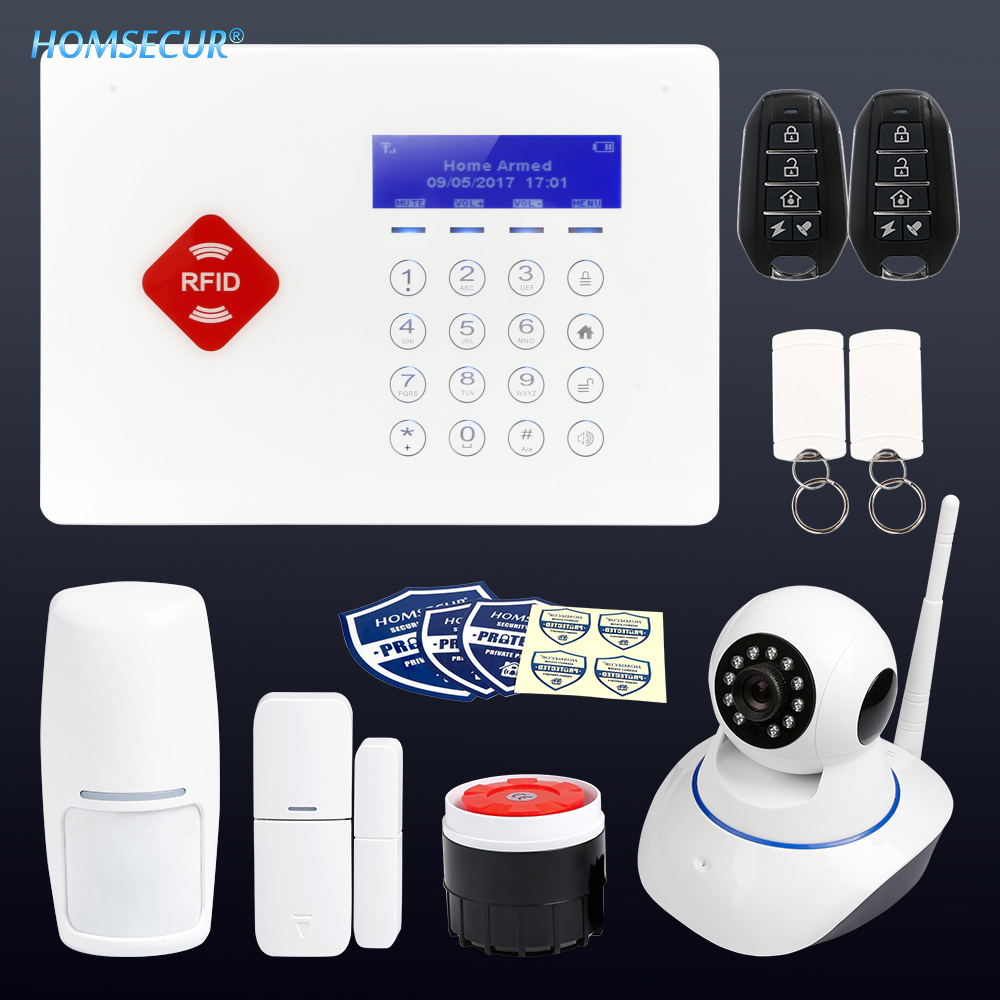 HOMSECUR App Controlled Wireless GSM LCD RFID Home House Alarm System with Touch KeypadHOMSECUR App Controlled Wireless GSM LCD RFID Home House Alarm System with Touch Keypad