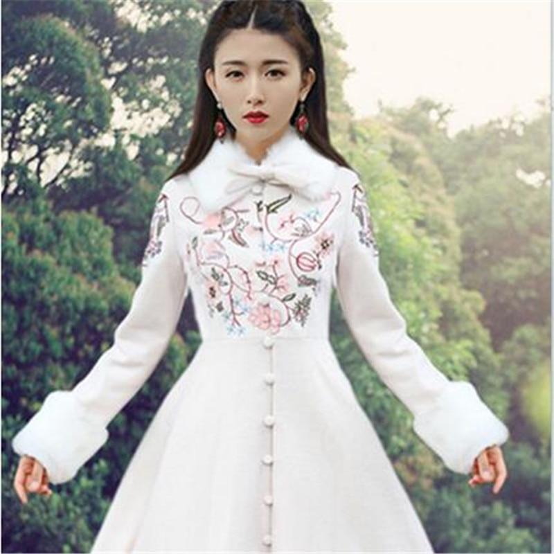 Tissu automne 2463 Laine Haute Reconstituant Manteau Broderie Colliers Color Manières Amovible Picture Antiques Printemps Cachemire Femmes Des De Couture qWBraB0Iw