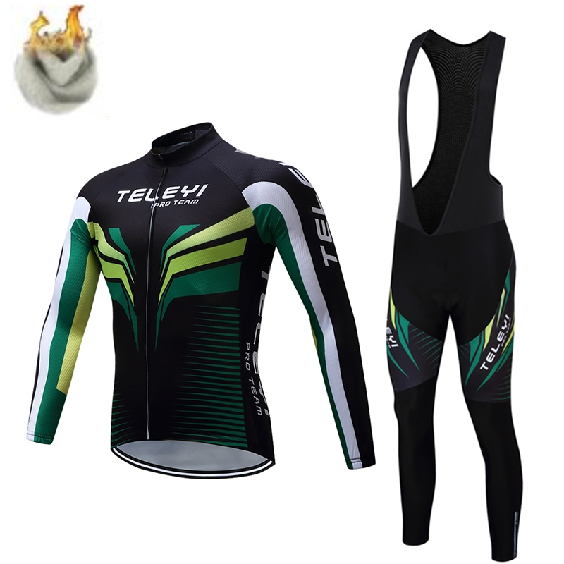 teleyi 2017 Pro Flier Winter Thermal Fleece Cycling Jersey Set Long Sleeve Bicycle Clothing MTB Bike Wear Maillot Ropa Ciclismo