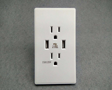 15A American standard two 3 hole dual USB US wall socket mobile phone charging
