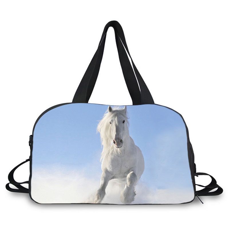 Animal horse design prints travel bag large weekend gym bag carrying sport bag with shoes compartment for men short time travel