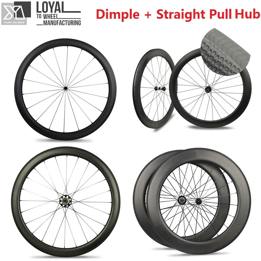 Dimple Surface Carbon Road Bike Wheels Tubular / Clincher 45mm 50mm 58mm 80mm Wheelsets With Taiwan Straight Pull Hub carbon wheels tubular clincher powerway r13 hub wheels 38mm 50mm 60mm 88mm road carbon bicycle wheels cheapest sale