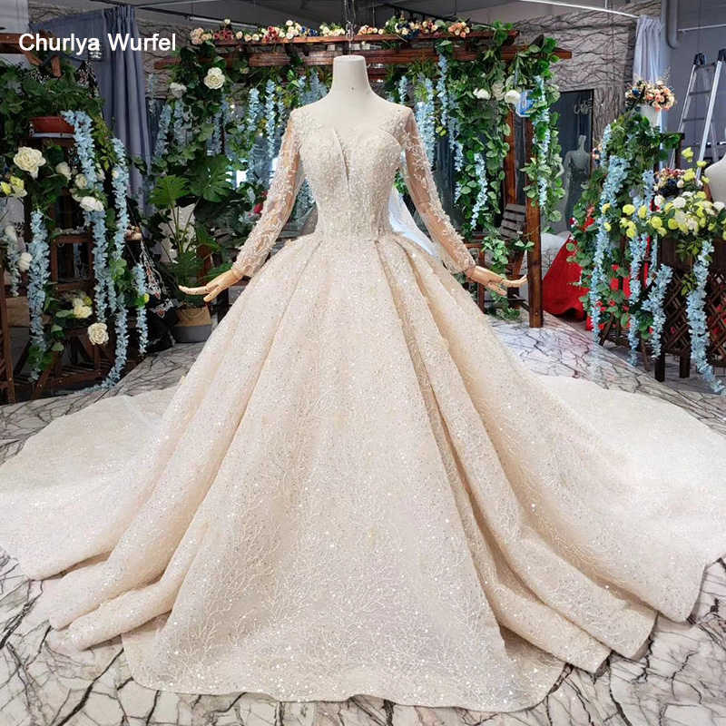 HTL481 luxury wedding dresses with royal train o-neck long sleeves heavy handmade bridal gowns high-end vestido de casamento
