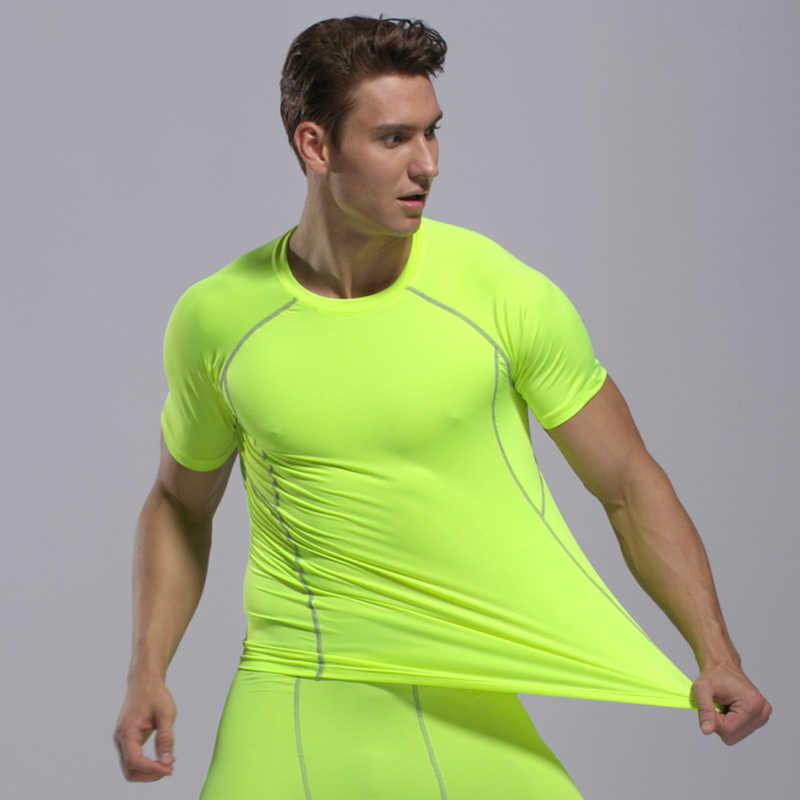 Pria Running Kemeja Kering Tshirt K Berlaku Sport T Shirt Pria Bodybuilding Shirt Sport T-shirt Kompresi Gym Kemeja Otot Baseshirt