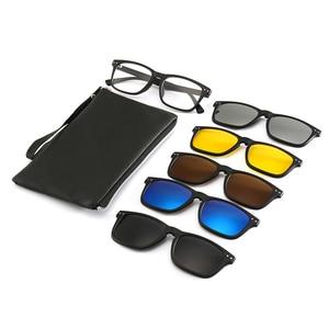 Image 1 - New Include Frame Polarized Clip On Sunglasses Men TR90 Custom prescription lenses Magnetic clips night glasses drive Magnet