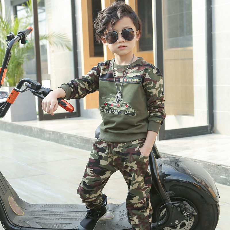 2017 Spring Fall Children Camouflage Clothing Set Boys Long Sleeve Military Uniform 2 Pcs Kids Spliced Sport Suit Tracksuit 2017 new boys clothing set camouflage 3 9t boy sports suits kids clothes suit cotton boys tracksuit teenage costume long sleeve