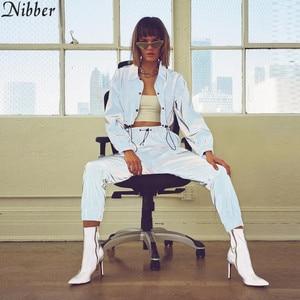 Image 5 - Nibber ファッション反射蛍光女性ジャケット 2019 春の新作秋長袖クロップは輝くトレーナーアクティブ着用