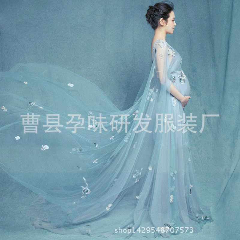 cd6589560e0c6 2017 Fashion Royal Style lace Maternity Dress Pregnant Photography Props  Pregnancy maternity photo shoot long dress Nightdress