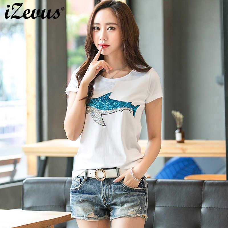 1fabcb4b50 2018 Summer 3D Sequined Gandmade Beaded Sharks Print T Shirt For Women  Clothing Female T shirts