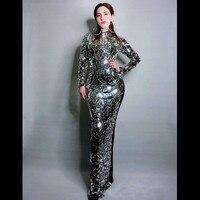 Роскошные полный серебряные блестки Вечерние Длинное платье Тонкий Пром клуб платье со стразами пикантные джазовая певица сценическое