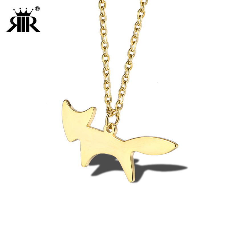 RIR Geometric Stainless Steel Gold Animal Fox Necklace Statement Dainty Women Cute Animal Necklaces Jewelry