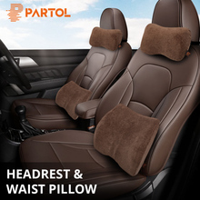 Partol Car Seat Support Headrest Pillow Neck Waist Lumbar Back Cushion Univerisal Pillow Lumbar Support Auto office Home Chair