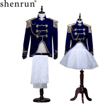Shenrun Men Women Suits Military Uniforms Navy Dress Stage Costume Photo Studio Wear Wedding Party Prom Singer Performance Suit