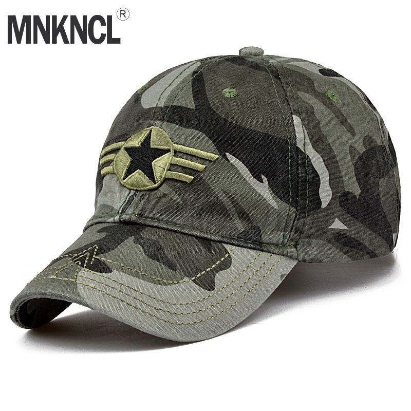 MNKNCL 2018 New Arrival Men Pentagram Cap Top Quality Baseball Caps Camouflage Hunting Fishing Hat Camo Baseball Hats Adjustable jungle new outdoor men s recreational fishing hunting baseball cap bionic camouflage