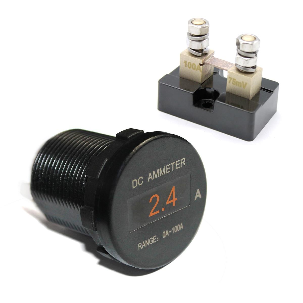 Universal Car Boat Marine Mini Digital OLED DC Ammeter Monitor Current Amp Meter 12V/24V 5Color Screen Waterproof IP66