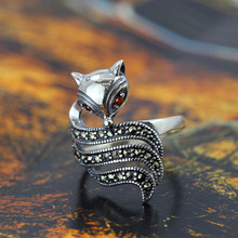 Silver jewelry retro Ladies Ring Marcasite fox  silver ring