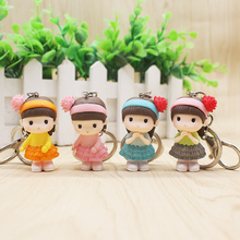 4 Pcs Blue Gray Pink Multiple Color Pvc Girl Doll Alloy Keychain For Girlfriend Sister Decorative Bag Key Fashion Simple Jewelry