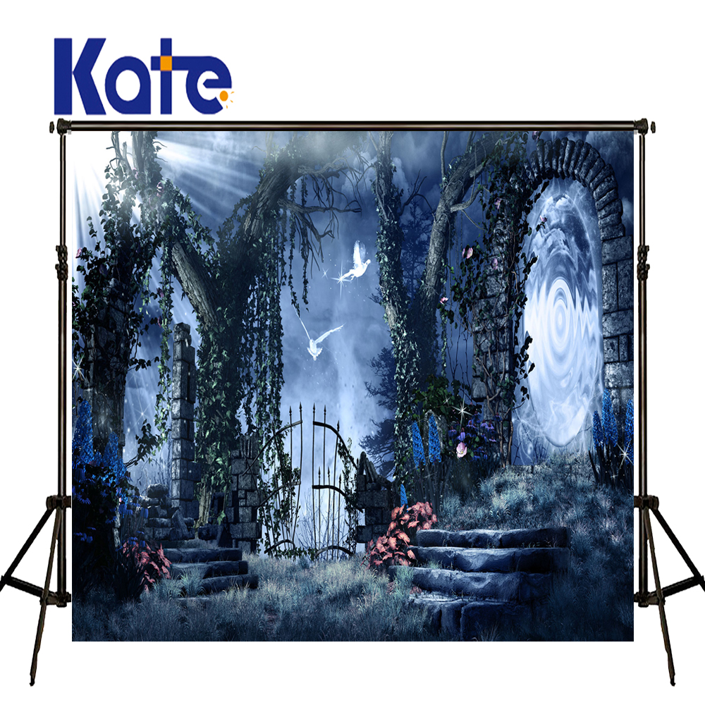 KATE Photocall Halloween Backdrop Fairy Tale Backdrop Blue Forest Backdrops Children Photography Backgrounds For Photo Studio fairy tale arch printed newborn baby photo backdrops art fabric backdrop for studio children photography backgrounds d 9822