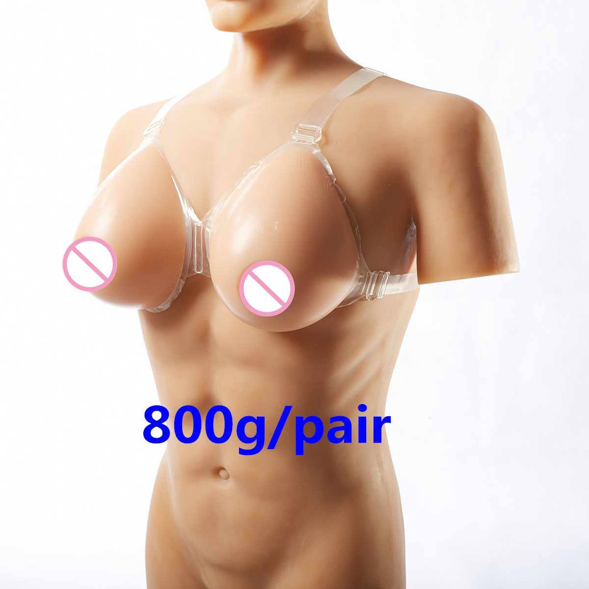 Buy 800g/pair Crossdresser Silicone Breast Forms Small Fake Boobs Shoulder Strap Breast Prosthesis Artificial Breast