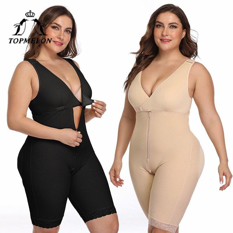 TOPMELON Body Shaper femmes classeurs et Shapers sous-vêtements amincissants grande taille Body sans manches fermeture éclair ouvert entrejambe