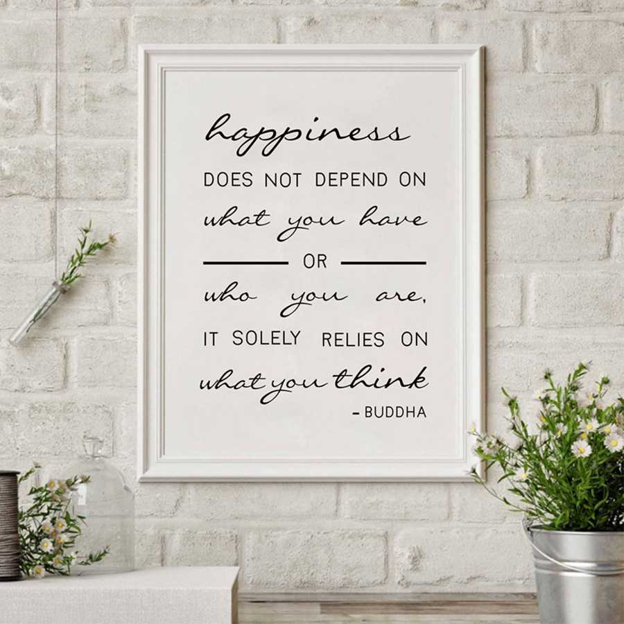 Happiness Relies on What You Think Buddha Quote Canvas Art Poster , Buddha Quote Art Canvas Print Home Wall Decor