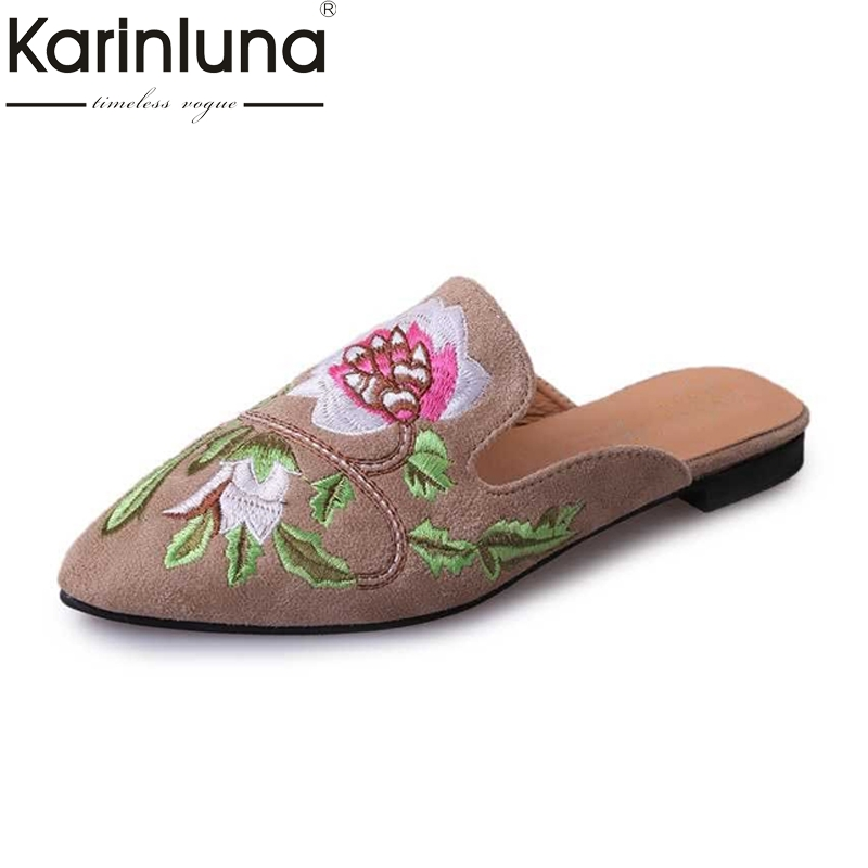 Fashion New Women Slippers Square Heel Embroidered Flock Pointed Toe Slingbacks Solid Shoes Spring And Summer Party Shoes new 2017 spring summer women shoes pointed toe high quality brand fashion womens flats ladies plus size 41 sweet flock t179
