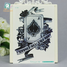 21X15cm Vintage Poker Large Tatoo Sticker Classical Black White Factory Design Cool Temporary Tattoo Stickers Taty Car Styling