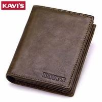 KAVIS Brand Genuine Leather Men Wallets Vintage Coin Purse Luxury Bifold PORTFOLIO Rfid Fashion Magic Vallet