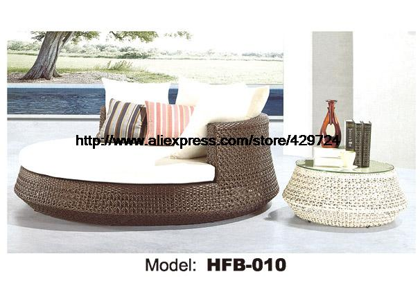 Luxury Leisure Lying Bed Rattan Sofa Bed with Cushion Coffee Table Swing Pool beach bed Sofa Round Rattan Sofa bed HFB010 sofa elastic webbing sofa tension belt bed elastic bandage