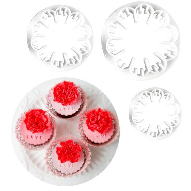 Nuovo 3 pz/set Fiore Garofano Fiore Della Torta Del Fondente Sugarcraft Gum Past