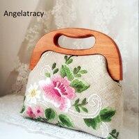 Angelatracy Vintage Embroidery Totes High Quality Women Bags Handmade Peony Flower Handbag Retro Crossbody Bags Wooden Boston