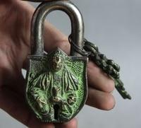Free shipping Old Tibet Tantra Buddhism pure bronze God Buddha Statue Latch lock&key Set