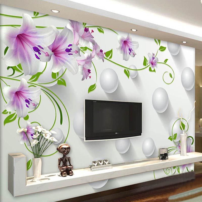 Custom Mural Wallpaper 3D Stereo Purple Lily Green Rattan Ball Photo Wall Murals Living Room TV Backdrop Wall Decor Papel Tapiz